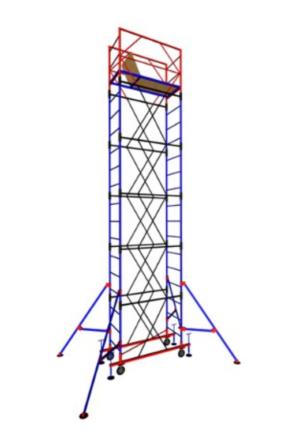 Строительная Вышка-тура передвижная (1,6х0,8) (2 секции+1 база+4 колеса)