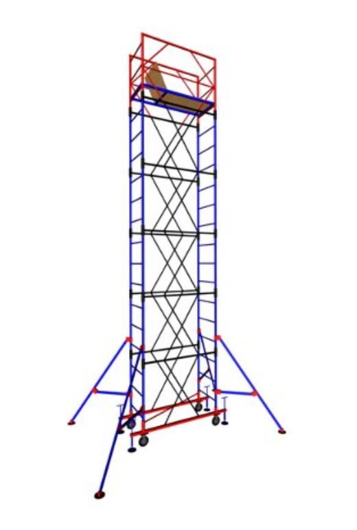 Строительная  Вышка-тура передвижная (1,6х0,8) (6 секций+1 база+4 колеса)