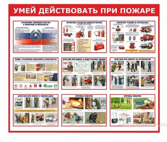 Купить стенд «Умей действовать при пожаре» оптом в Санкт-Петербурге от производителя, производство