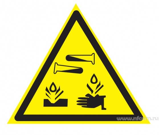 Купить знак W-04 (Опасно. Едкие и коррозионные вещества) оптом в Санкт-Петербурге от производителя, производство